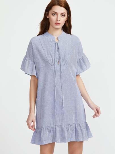 Vertical Striped Dropped Waist Dress