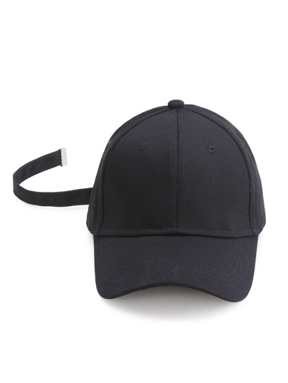 Black Baseball Cap With Strap