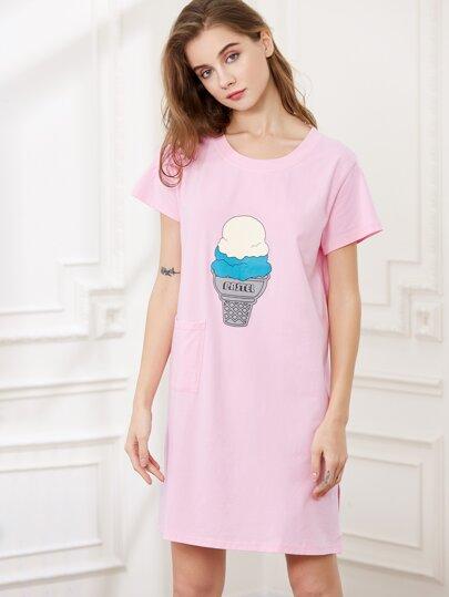 Camisón con estampado de helado - rosa