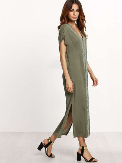 Placement Print Split Side Maxi Dress