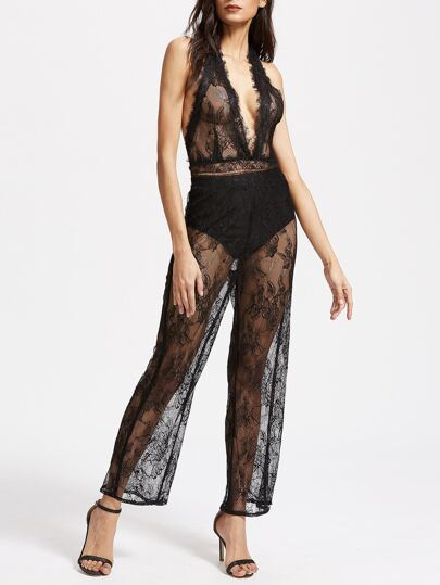 Plunge Halter Backless Floral Lace Jumpsuit