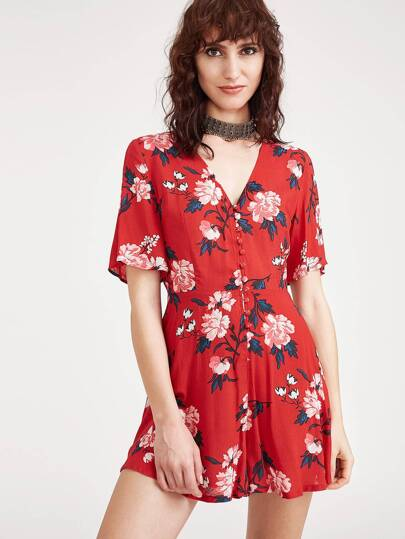 Flower Print Button Front Wide Leg Romper