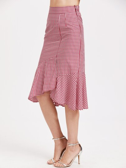 Gingham Frill Trim Asymmetric Skirt