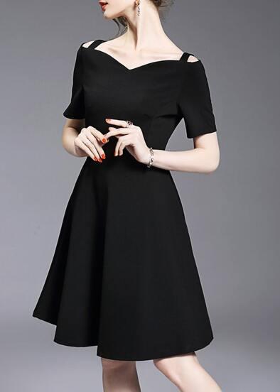 Black Strap Elegance A-Line Dress