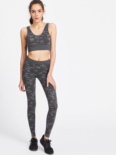 Dark Grey Camo Print Crop Tank Top With Leggings