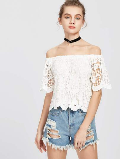 Floral Lace Overlay Scalloped Bardot Top