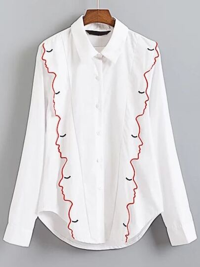 White Embroidery Vertical Striped Blouse