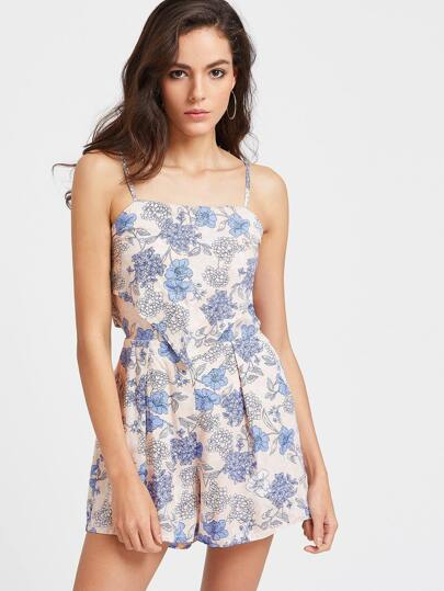 Floral Print Backless Layered Romper