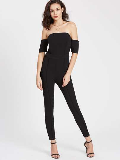 Off Shoulder Zipper Back Jumpsuit
