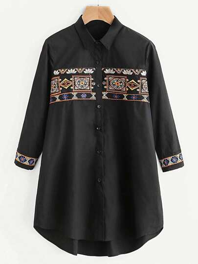 Tribal Embroidery Single Breasted Blouse