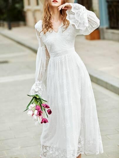 White V Neck Bell Sleeve Embroidered Dress
