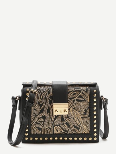 Black Embroidery Studded Trim PU Shoulder Bag