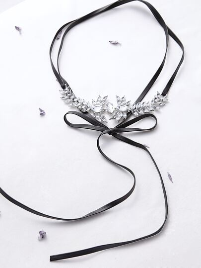 Black Rhinestone Flower Shaped Bow Tie Choker