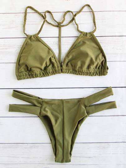 Braided Strap Cut Out Triangle Bikini Set