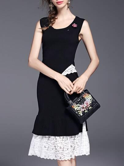 Kleid mit Strick 2 Stücken und Lesbie - schwarz