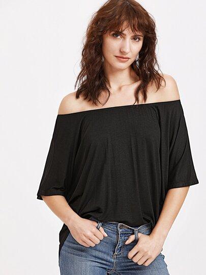 Black Off The Shoulder High Low T-shirt