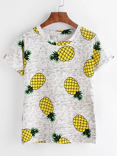 Light Grey Pineapples Print T-shirt