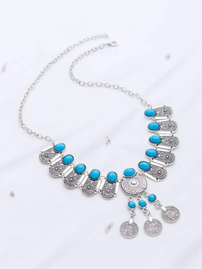 Turquoise Coin Detail Statement Necklace