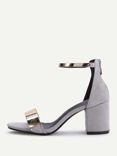 Grey Contrast Metallic Ankle Strap Chunky Heeled Sandals