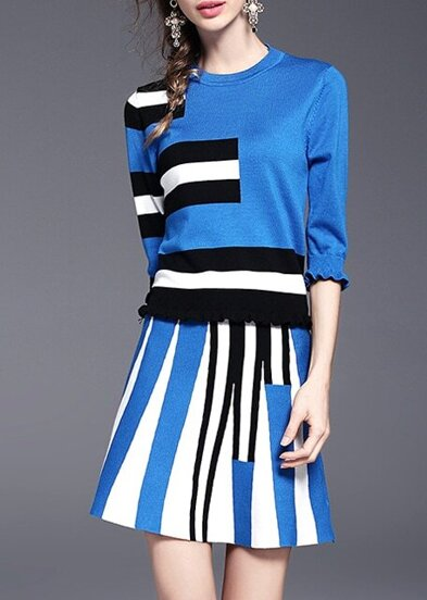 Blue Color Block Top With Skirt