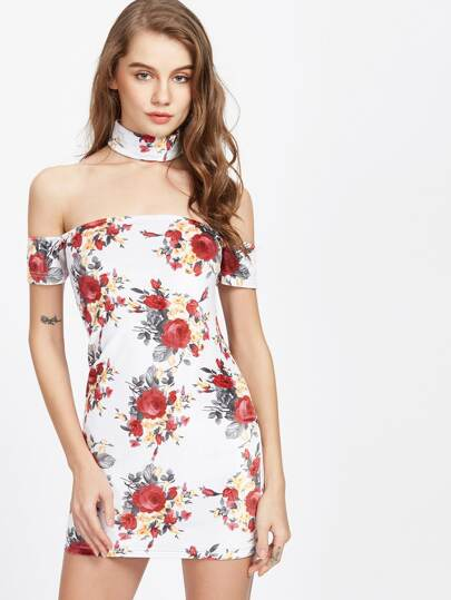 White Rose Print Off The Shoulder Dress With Choker
