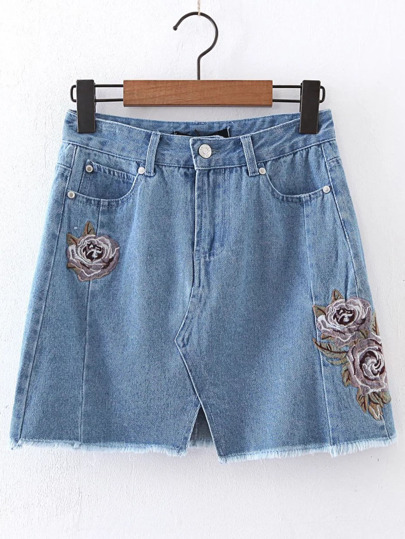 Blue Flower Embroidery A Line Denim Skirt
