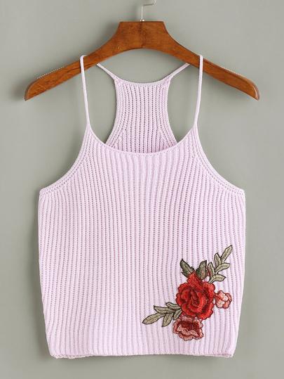 Camisole en tricot avec le patch de broderie rose