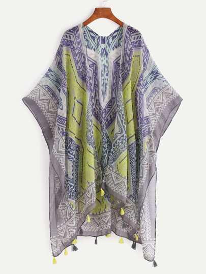 Aztec Print Tassel Hem Beach Kimono