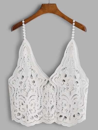 Hollow Out Scalloped Lace Cami Top