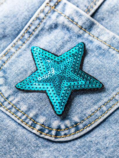 Parche con lentejuelas de estrella de cinco puntas - azul