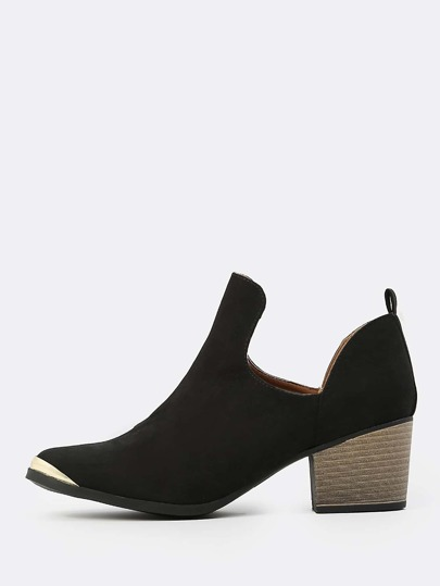 Faux Suede Cut Out Ankle Booties BLACK
