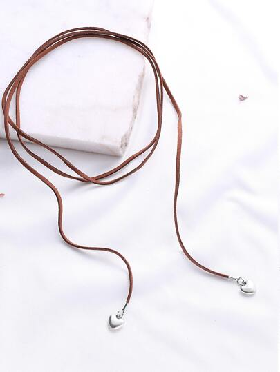 Brown Wrap Choker With Heart Pendant