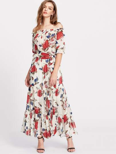 Flower Print Belted Tiered Bardot Dress
