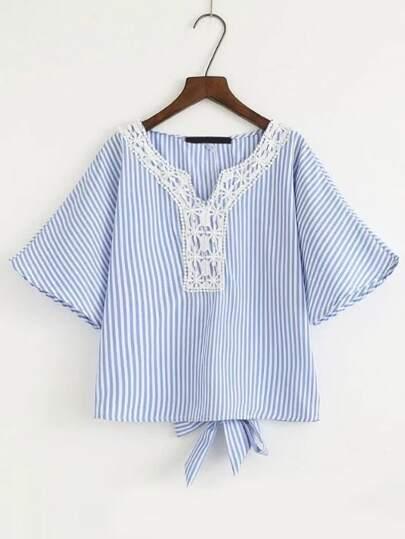 Bell Sleeve Crochet Trim Knot Back Blouse