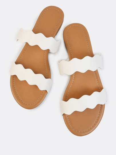 Double Strap Squiggle Slides IVORY