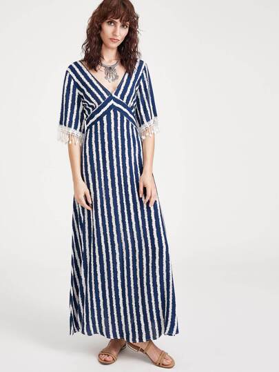 Navy Striped Double V Neck Fringe Detail Dress