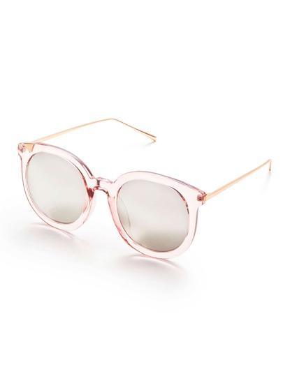 Gafas de sol con marco rosa brazo de metal y lentes transparente