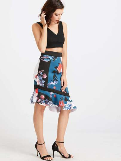 Color Block Flower Print Asymmetric Frill Skirt