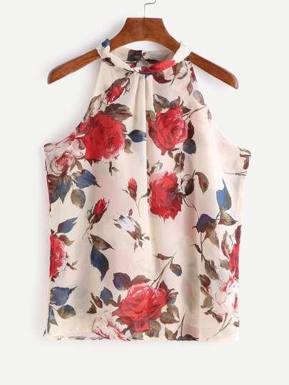 Apricot Floral Print Sleeveless Chiffon Top