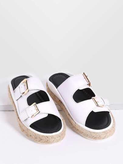 White Buckle Design Espadrille Slide Sandals