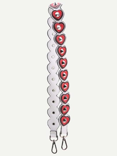 Correa de bolso en forma de corazón con tachuelas - blanco rojo