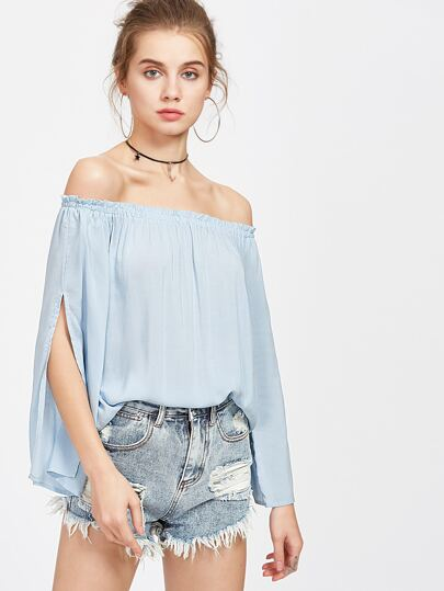Off Shoulder Split Sleeve Top