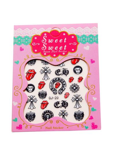 Red Mouth Nail Sticker Set