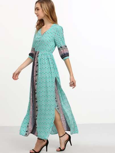 Vintage Print Elbow Sleeve Split Side Maxi Dress