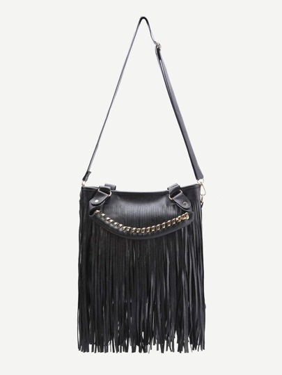 Black Fringe Design Shoulder Bag With Handle