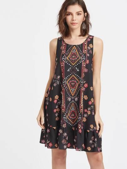 Kleid mit Blumendruck und Rüschen zurück mit Öffnung - schwarz