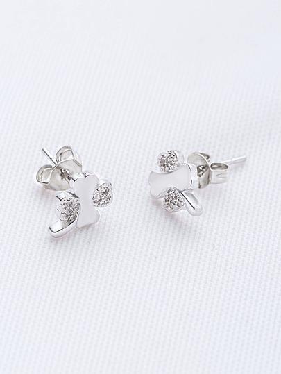 Silver Rhinestone Flower Shaped Stud Earrings