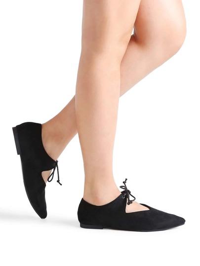 Black Point Toe Lace Up Ballet Flats