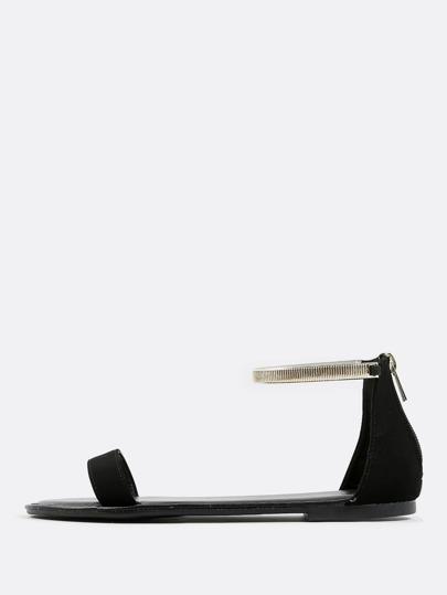 Open Toe Gold Ankle Strap Sandals BLACK
