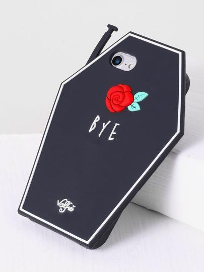 Funda para iphone 7 con estampado de rosa - negro